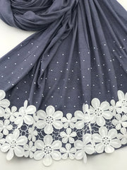 Fancy floral jersey - Dark Grey