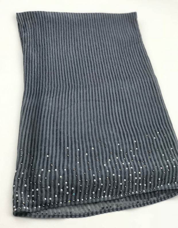 Cashmere pleated chiffon - dark grey (NEW ARRIVAL)