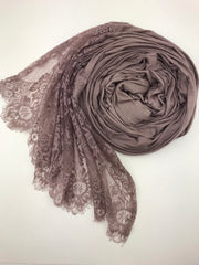 JERSEY LACE ONE EDGE - Brown
