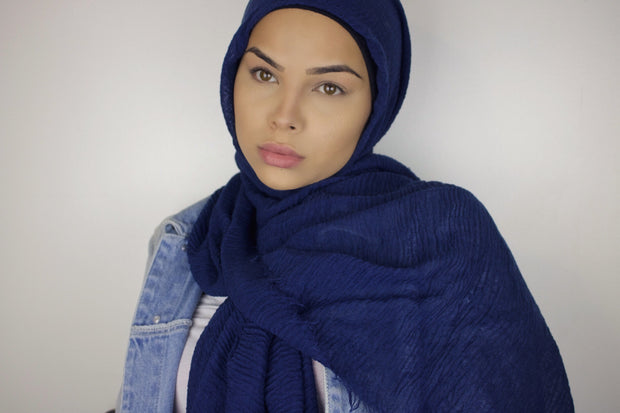 Rippled Hijab - Dusty Navy Blue #03