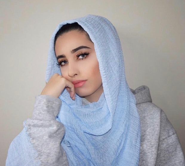 Rippled Hijab - Baby Blue