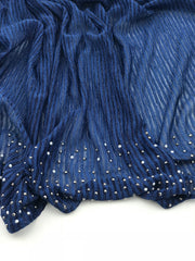 Cashmere pleated chiffon - navy blue (NEW ARRIVAL)