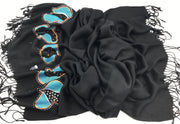Pashmina shawl hijab - black with turquoise