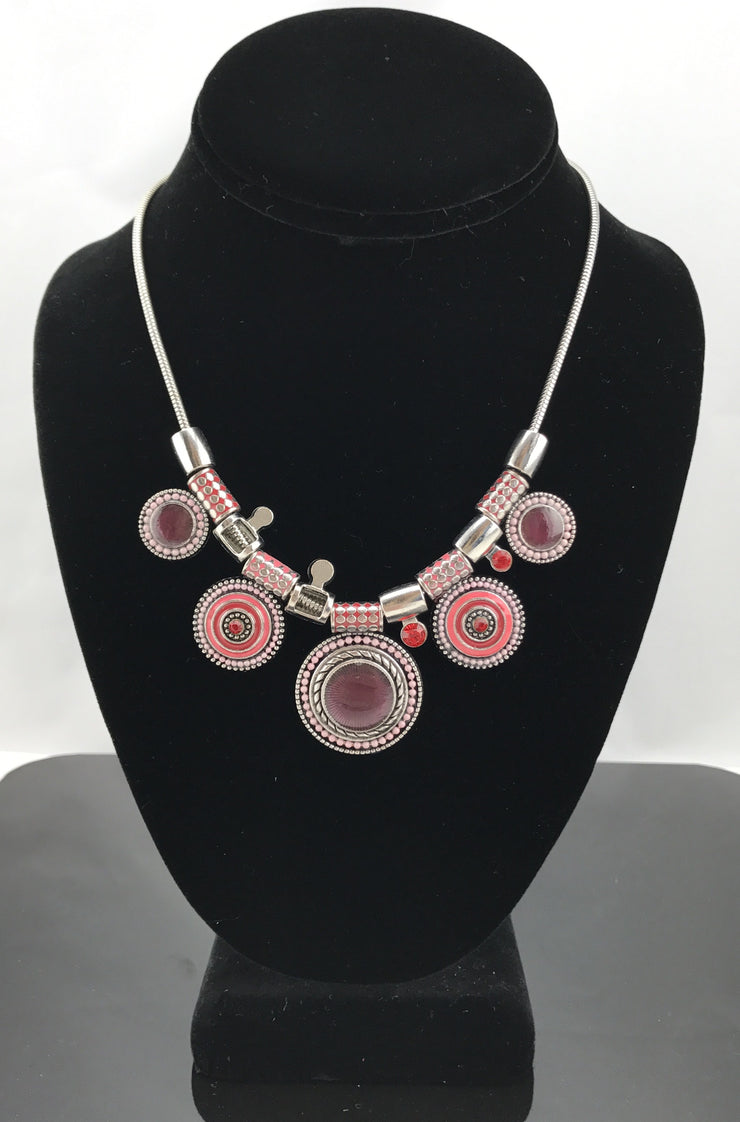 Red Disc Necklace - Hijabsandstuff
