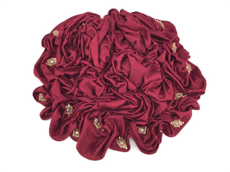 CRYSTAL JERSEY-BURGUNDY with gold #05 - Hijabsandstuff