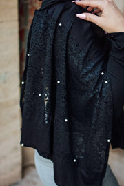 Jersey pearl lace - black