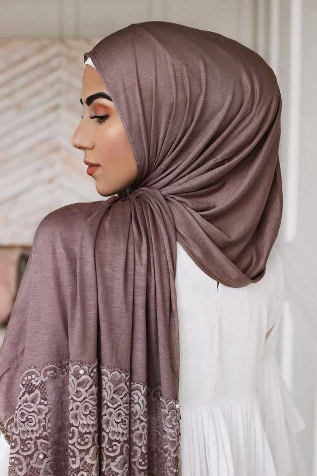 Jersey pearl lace - brown (2 pieces available)