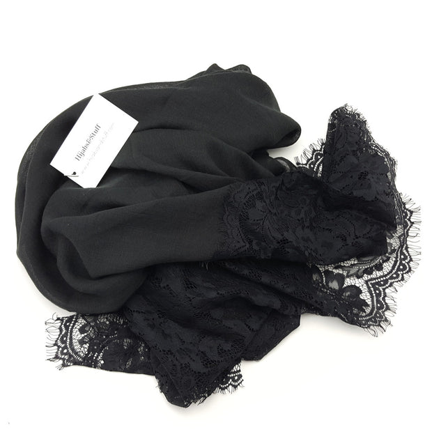 Luxury Lace Hijab - Black #2 - Hijabsandstuff