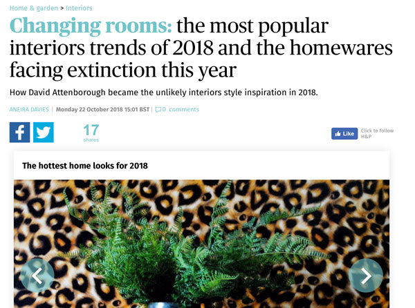 The Evening Standard - The Most Popular Interiors Trends of 2018 Featuring The Monkey Puzzle Tree