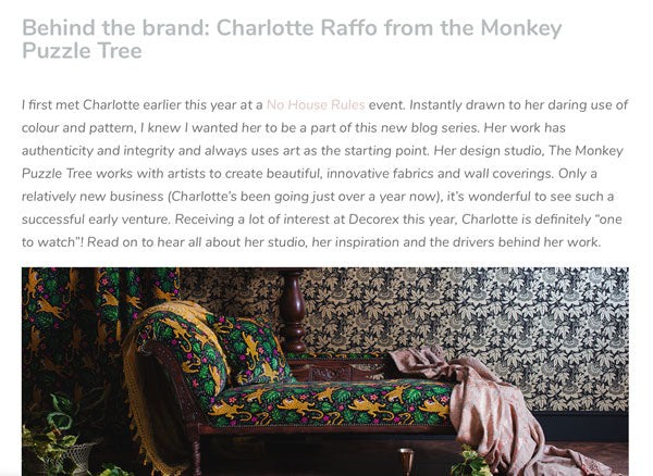 Behind the Brand: Charlotte Raffo from The Monkey Puzzle Tree by Caroline Ann Design