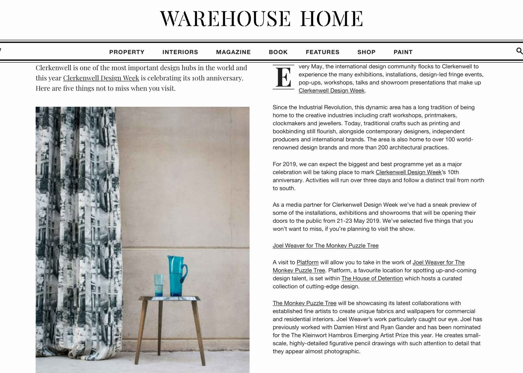 Warehouse Home Clerkenwell 2019 Featuring The Monkey Puzzle Tree