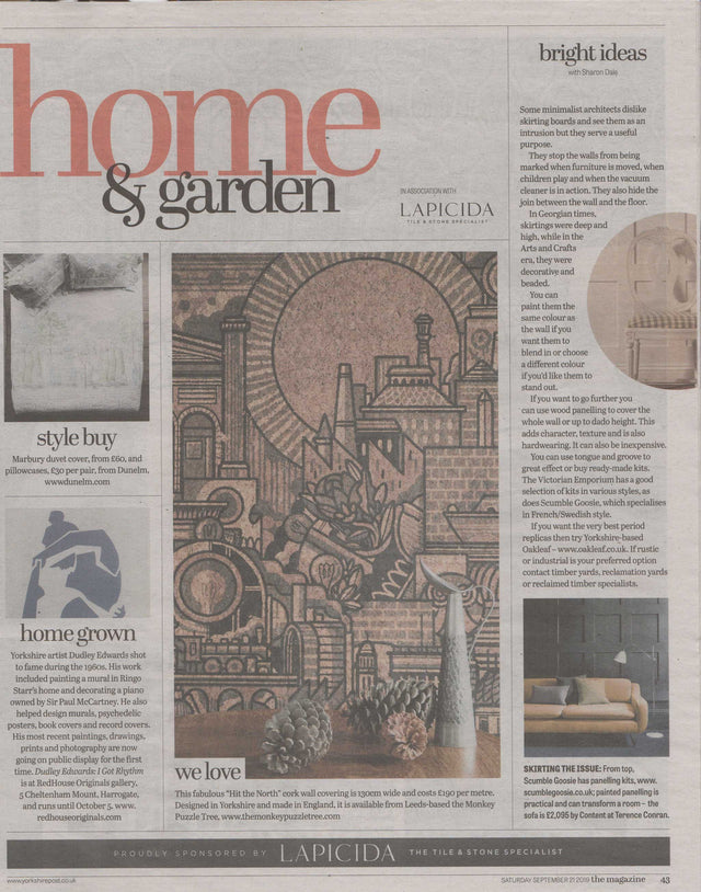 We Love - 'Hit the North' Cork wallpaper by Drew Millward featured in the Yorkshire Post