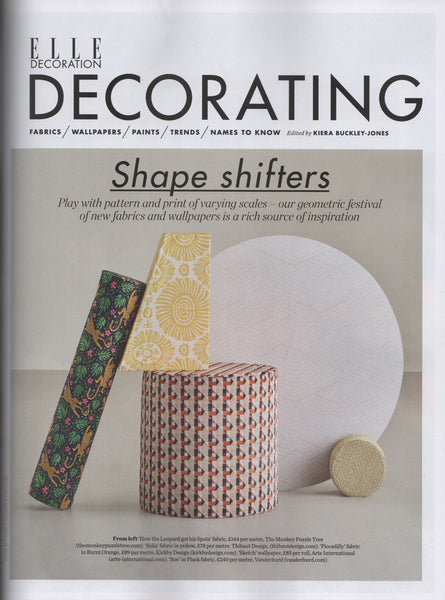 Elle Decoration October 2019 featuring 'How the Leopard got his Spots' velvet by Alexis Snell for The Monkey Puzzle Tree