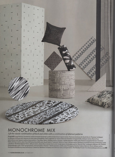 Elle Decoration October 2019 featuring 'Between Certainty and Oblivion' linen by Joel Weaver for The Monkey Puzzle Tree