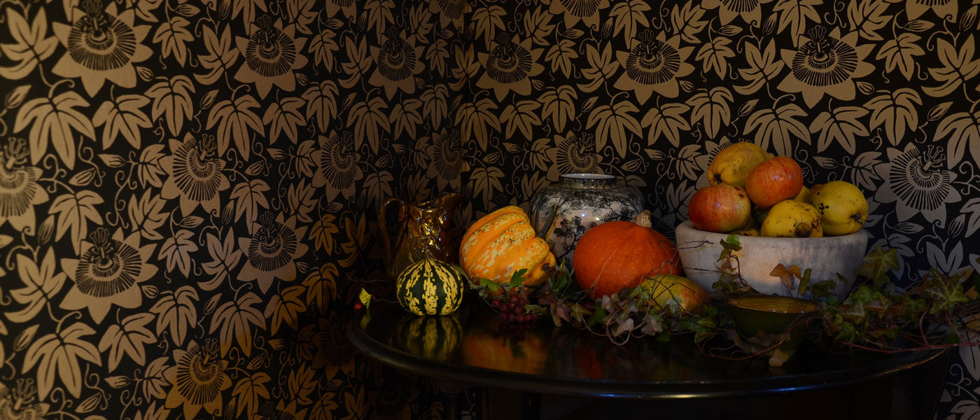 Autumn Halloween styling with Passion Flower Wallpaper by Alexis Snell for The Monkey Puzzle Tree