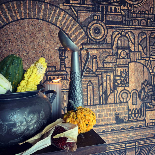 Rustic autumnal halloween styling pewter and gourds