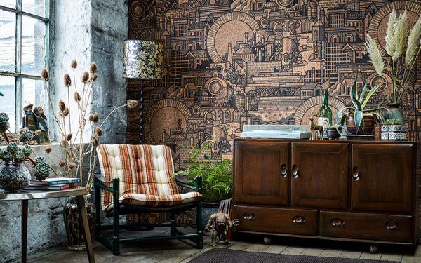 Hit the North real cork wallpaper by Drew Millward for The Monkey Puzzle Tree