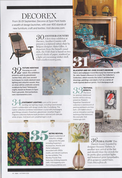 'How the Leopard got his Spots' velvet by Alexis Snell in Homes and Gardens Magazine's 50 Highlights of the London Design Festival