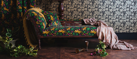 Maximalist gothic velvet and wallpaper by The Monkey Puzzle Tree