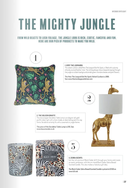 Life Magazine featuring How the Leopard got his Spots cushion by The Monkey Puzzle Tree