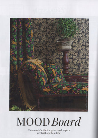 How the Leopard got his Spots velvet and Passion Flower wallpaper featured in Living North Magazine
