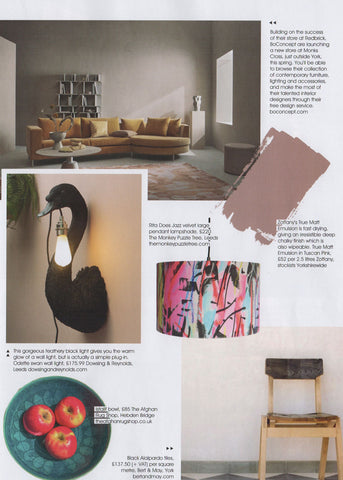 Rita does Jazz velvet lampshade by The Monkey Puzzle Tree featured in Living North magazine