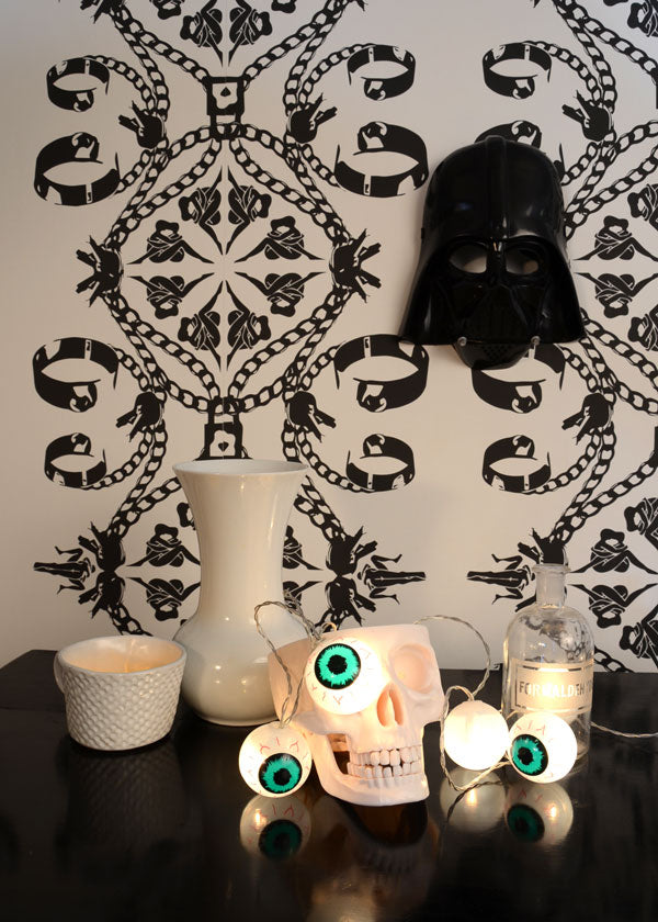 Spooky Surreal Halloween Scene featuring Maitrise wallpaper by Sarah Jane Palmer for The Monkey Puzzle tree
