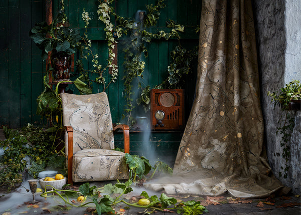 Autumnal and Halloween styling for interiors, dry ice and foliage