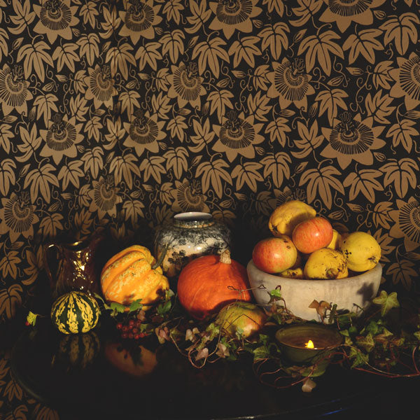 Halloween and autumnal styling with gourds, apples and quinces