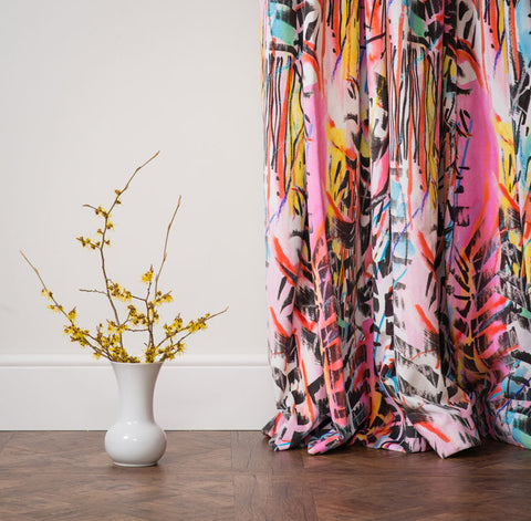 Colourful UK made velvet curtains by The Monkey Puzzle Tree
