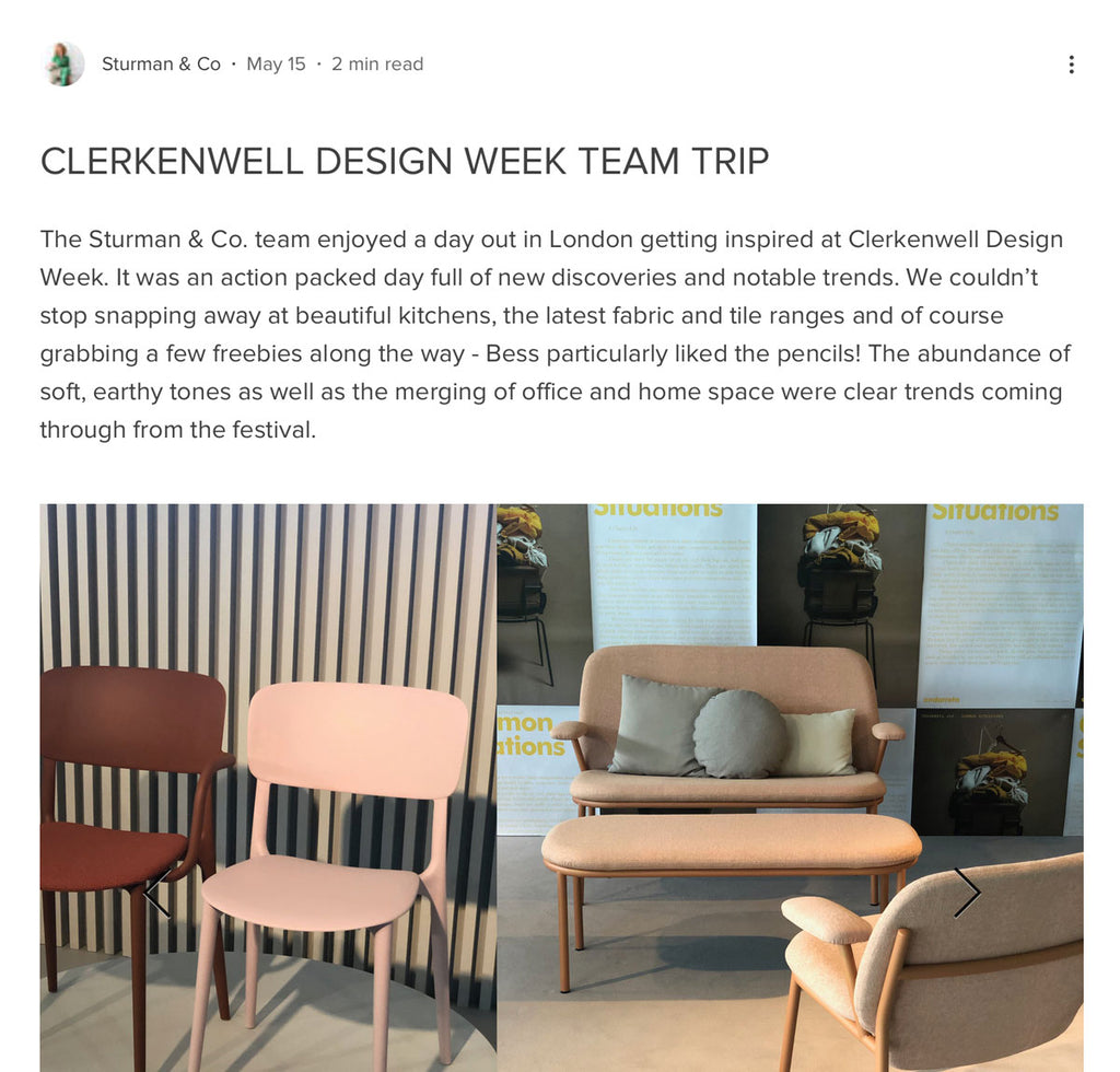 Sturman and Co Clerkenwell Design Week featuring The Monkey Puzzle Tree