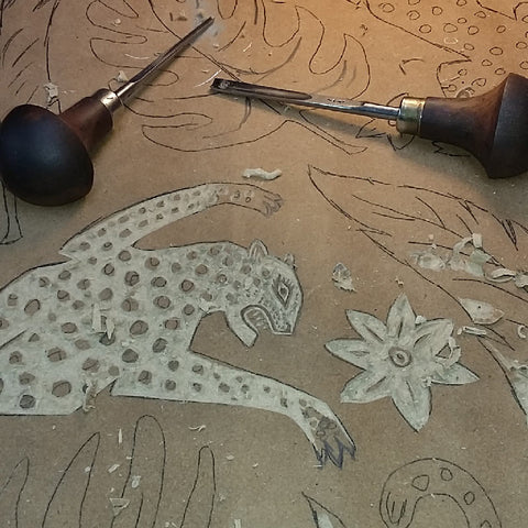 Lino carving by Alexis Snell behind the scenes at The Monkey Puzzle Tree