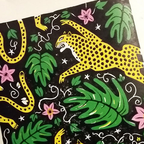 Lino printing by Alexis Snell behind the scenes