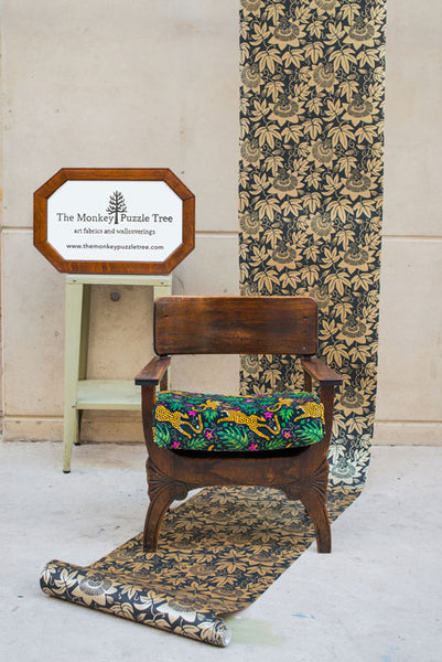 Passion Flower wallpaper and How the Leopard got his Spots Arts and Crafts chair by Alexis Snell for The Monkey Puzzle Tree
