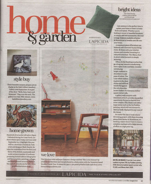 She Chose Science Superwide Wallpaper by Sarah Thornton for The Monkey Puzzle Tree featuring in the Yorkshire Post