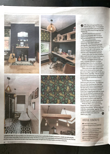 Yorkshire Post Real Homes featuring How The Leopard got his Spots velvet by The Monkey Puzzle Tree