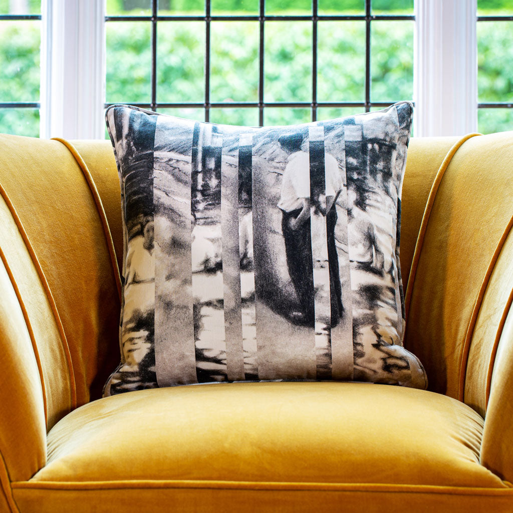 Between Certainty and Oblivion linen luxury cushion by The Monkey Puzzle Tree