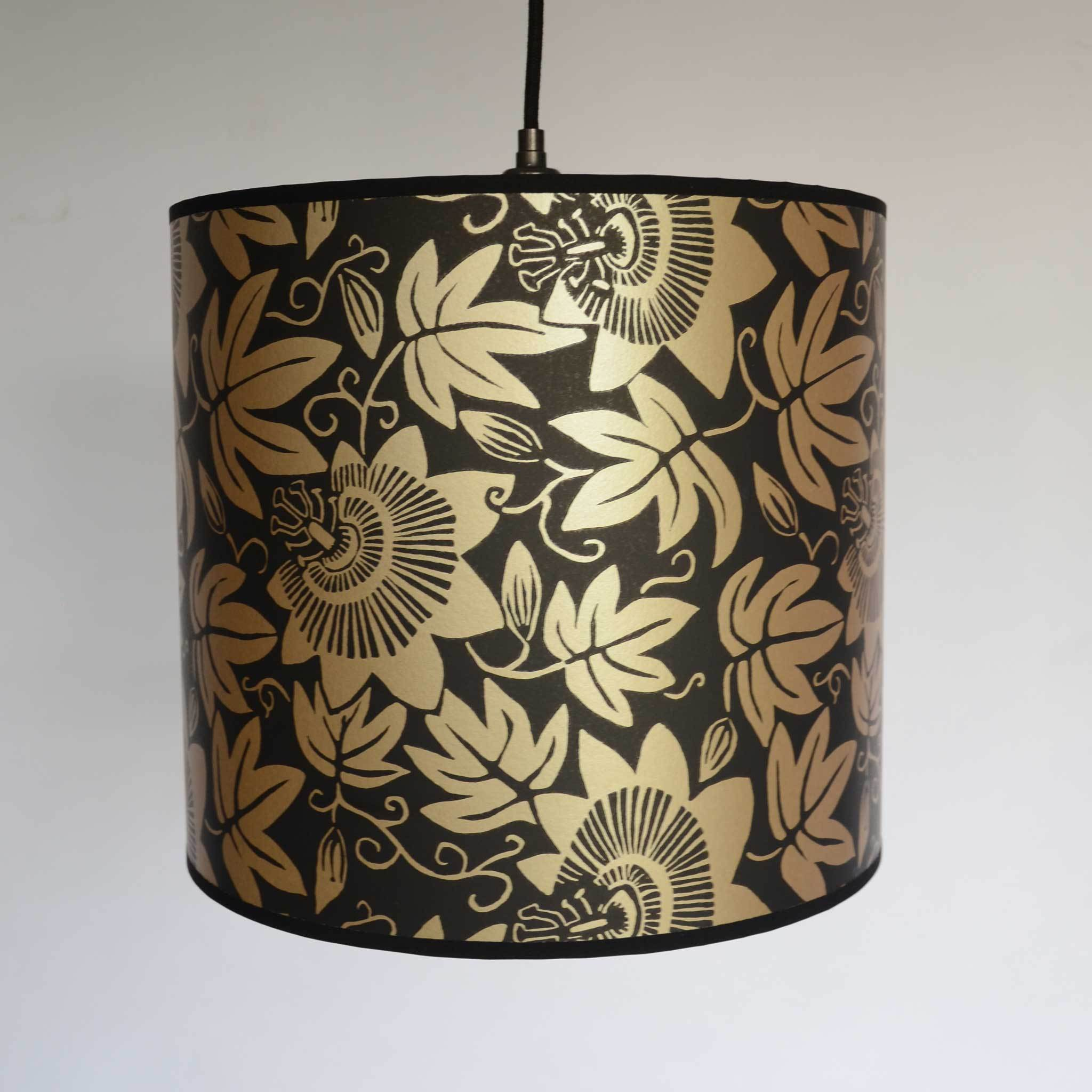 Black and Gold Passion Flower Paper Lampshade