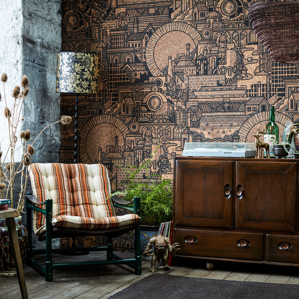Hit the North real cork wallpaper by Drew Millward for the Monkey Puzzle Tree lifestyle