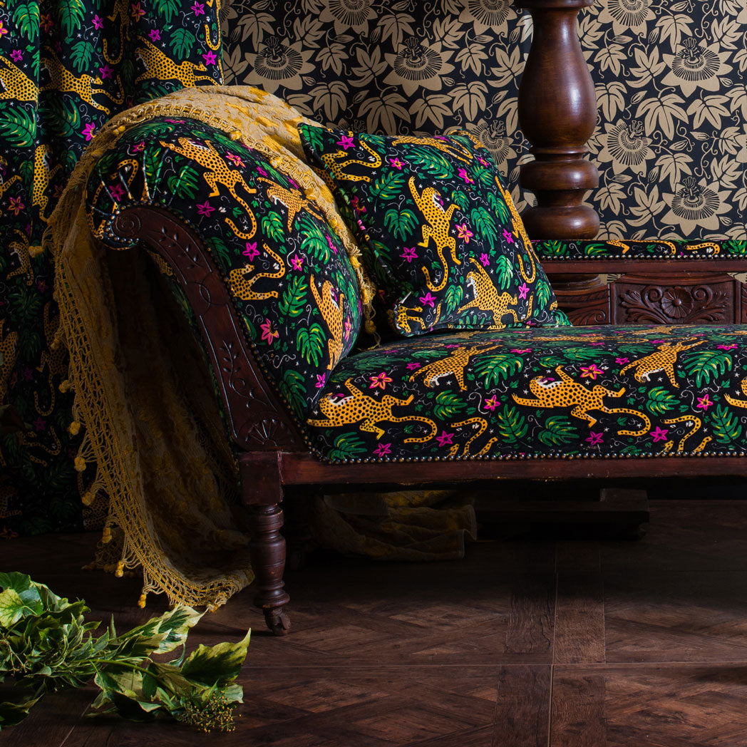 How the Leopard got his Spots velvet and Passion flower wallpaper chaise longue maximalist scene