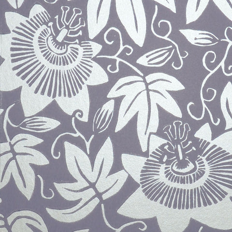 Lilac and Silver Passion Flower Wallpaper