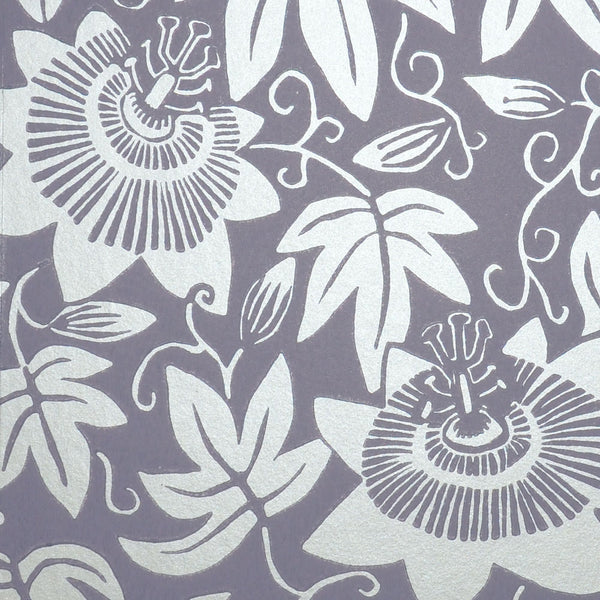 Lilac and Silver Passion Flower Wallpaper by Alexis Snell for The Monkey Puzzle Tree detail