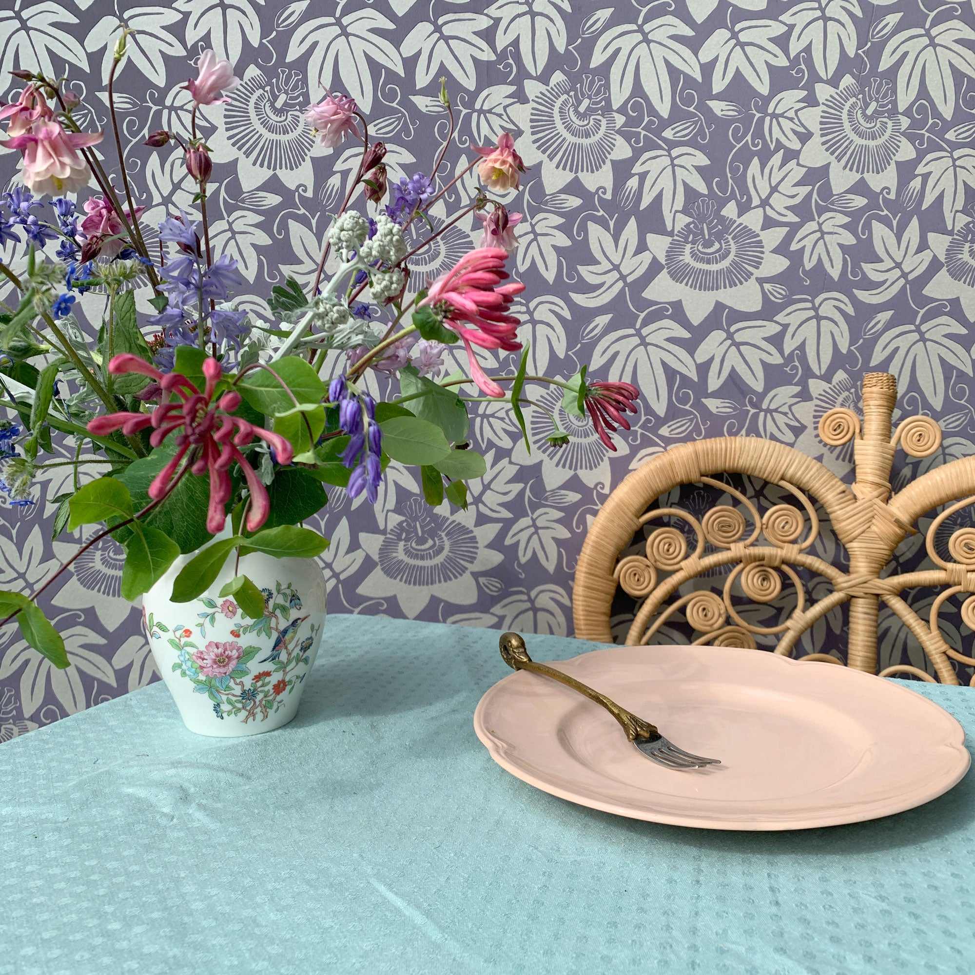 Lilac and silver Passion flower wallpaper by The Monkey Puzzle Tree table setting