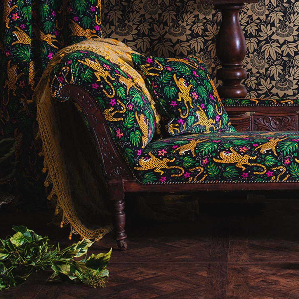 How the Leopard got his Spots velvet and Passion Flower Wallpaper by The Monkey Puzzle Tree Maximalist scene