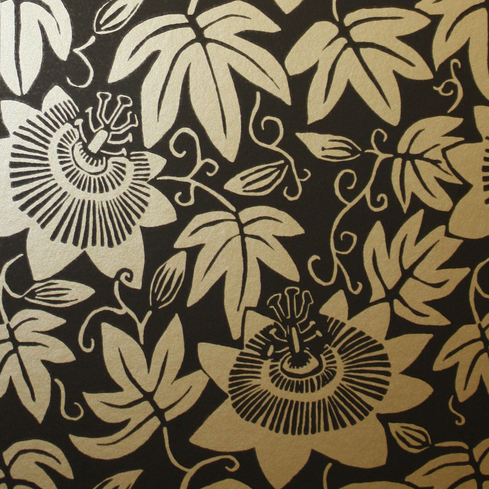Black and Gold Passion Flower Wallpaper