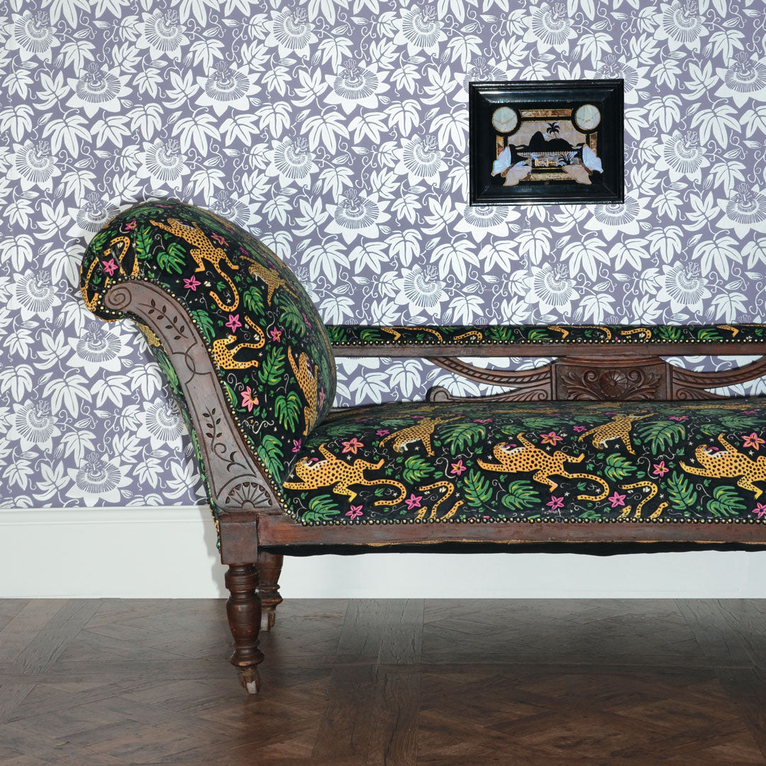 How the Leopard got his Spots Velvet and Lilac and Silver Passion Flower Wallpaper by The Monkey Puzzle Tree