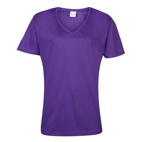Printed V-neck Girlie T-Shirt - Purple
