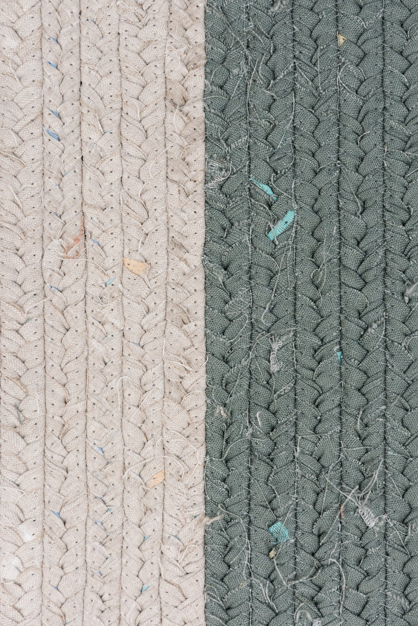 Recycled Linen Rug Rectangle - Natural / Sage