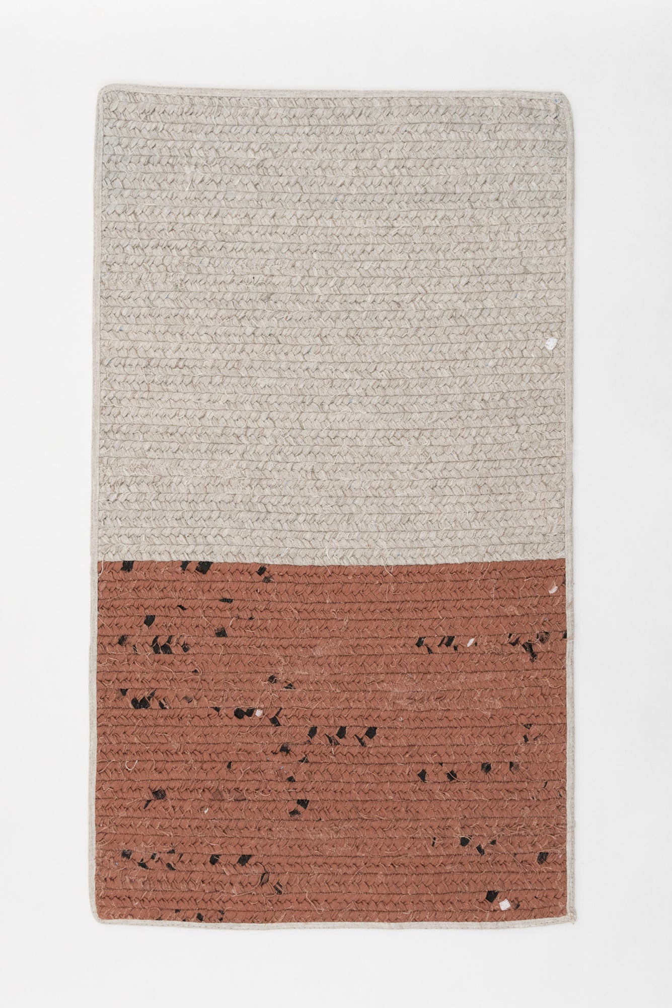 Recycled Linen Rug Rectangle - Natural / Maroon