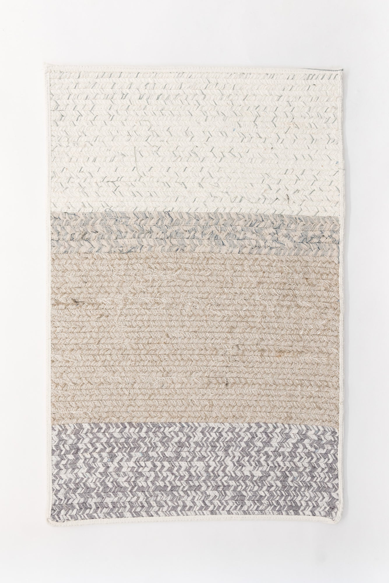 Recycled Linen Rug Rectangle - Natural / White